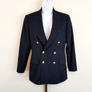 Vintage Ralph Lauren 12 Navy Blue Wool Blazer